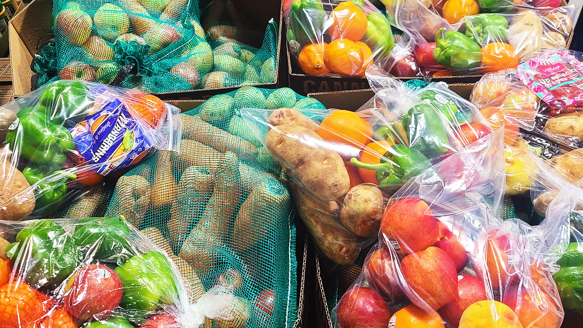 Bags of Produce at Amazing Grace Food Pantry